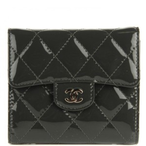 Chanel Chanel Classic Flap Small Trifold Patent Dark Grey Wallet