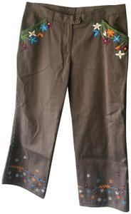Moschino Embriodered Floral Capri/Cropped Pants Olive/Brown
