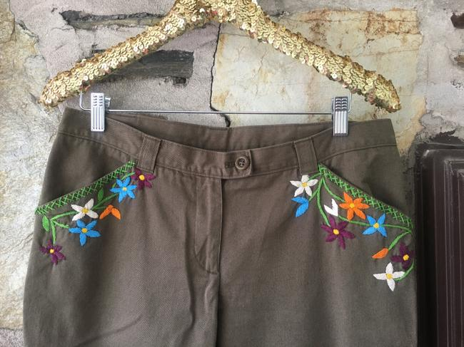Moschino Embriodered Floral Capri/Cropped Pants Olive/Brown Image 2