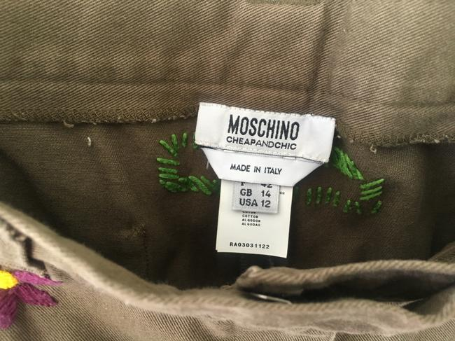 Moschino Embriodered Floral Capri/Cropped Pants Olive/Brown Image 5