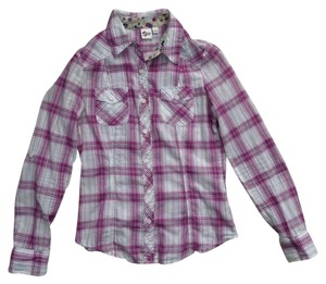 So Brand Button Down Shirt Purple/Pink and White