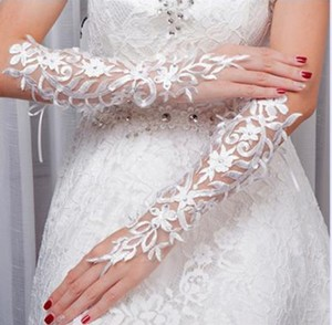 White New Bride Lace Floral Fingerless Prom Gloves