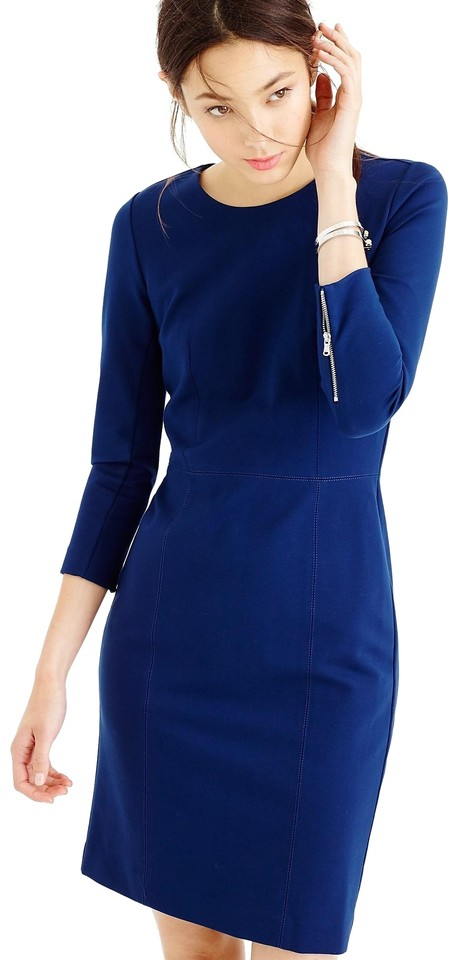 J Crew Blue Structured Stretch Knit Zip Mid-length Work/Office Dress Size  10 (M) 59% off retail