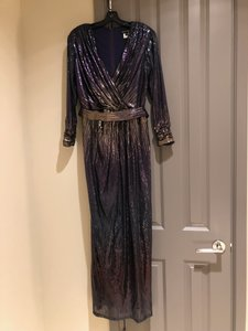 Tadashi Shoji Purple and Gold Sequin Silk Belted Evening Gown. V-neck Wrap Style. Formal Bridesmaid/Mob Dress Size 14 (L)