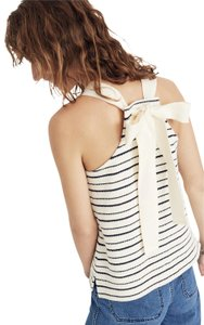 Madewell Woven Top-rated Bow Tie Striped Top Off-white