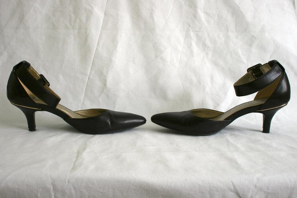 e5993d2b7cd Anne Klein Pointed Pointed Kitten Heels Patent Leather Ankle Strap Black  Pumps Image 7. 12345678
