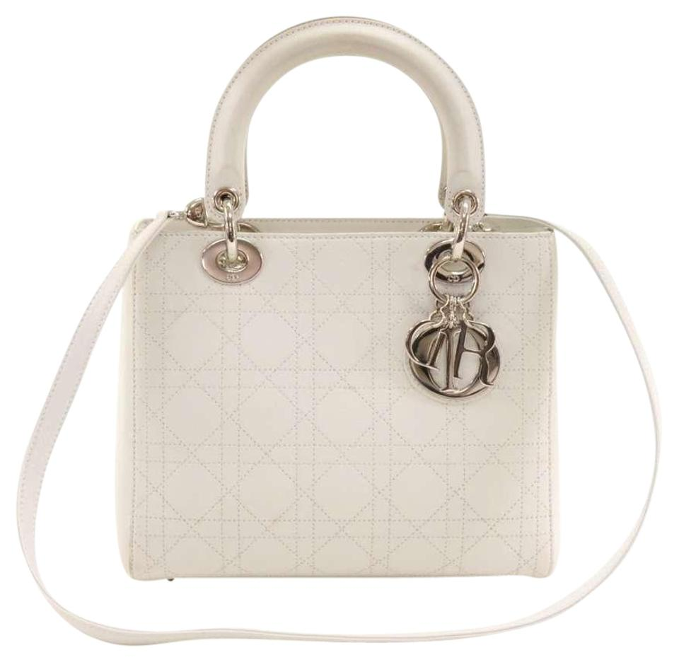 Dior Lady Dior Christian Medium Quilted Cannage Handbag White Leather  Shoulder Bag d589e942b9973