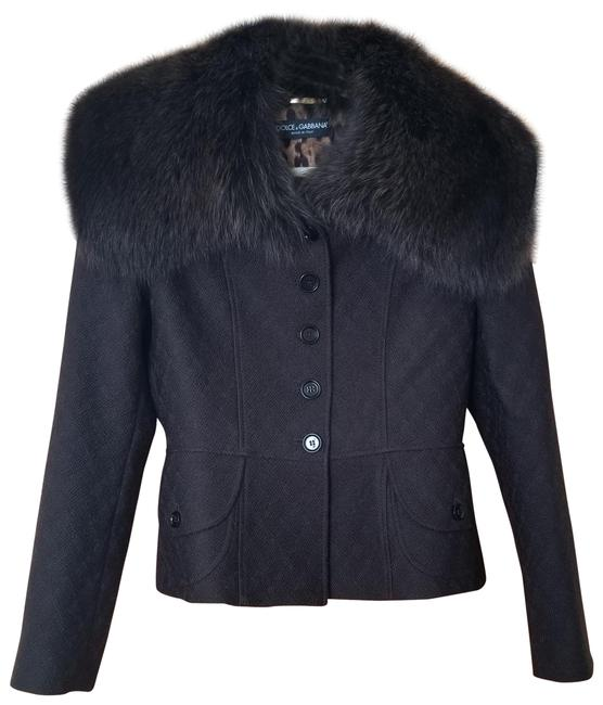 Item - Brown Fur Wool Silk Jacket Size 8 (M)