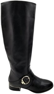 Tory Burch Burnished Leather Medallion Logo Riding Black Boots