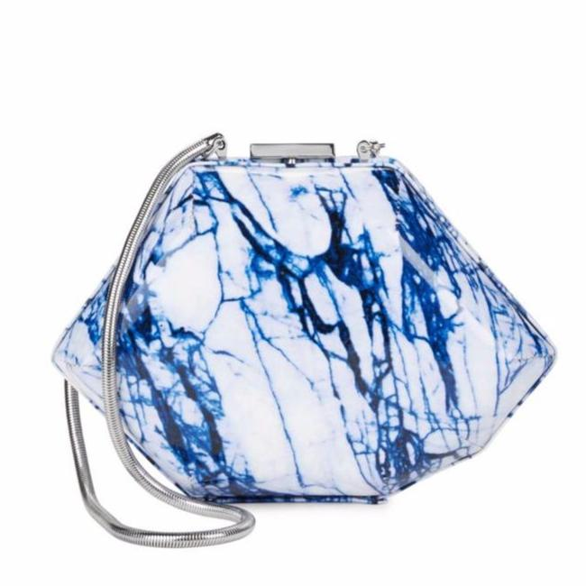 Item - Clutch Marbled Glazed Convertible Blue White Patent Leather Shoulder Bag