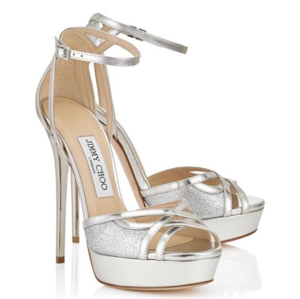 06ebed7ac97a Jimmy Choo Laurita Metallic Glitter Sandals Size EU 38.5 (Approx. US ...