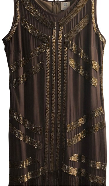 Item - Brown and Gold 1234 Mid-length Formal Dress Size 16 (XL, Plus 0x)