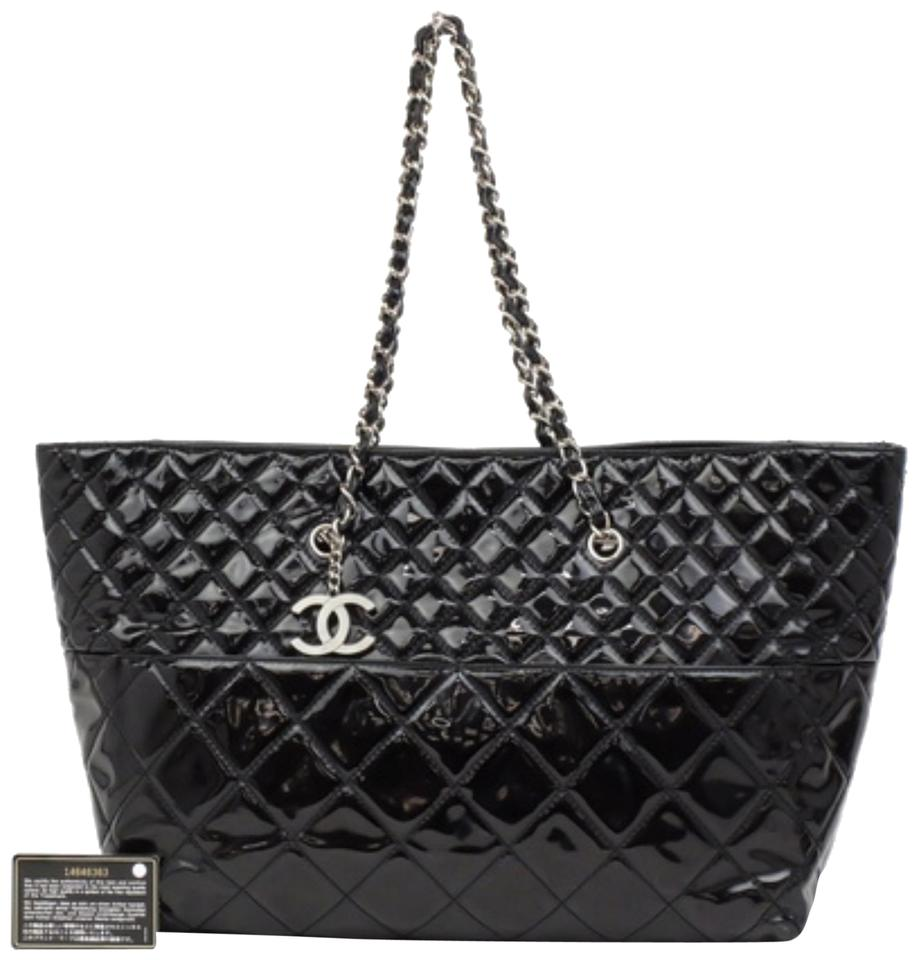 7a9effe58a88 Chanel Large Quilted Chain 231076 Black Patent Leather Tote - Tradesy