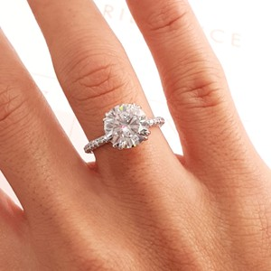 White Gold 3.5 Carat Round Hidden Halo Design - 14k Engagement Ring