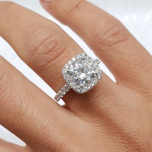 White Gold 3.5 Carat Cushion Moissanite Halo - 14k Engagement Ring