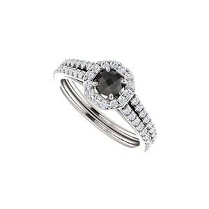 DesignByVeronica Black Onyx and Double Row of CZ Halo Ring in 925 Silver