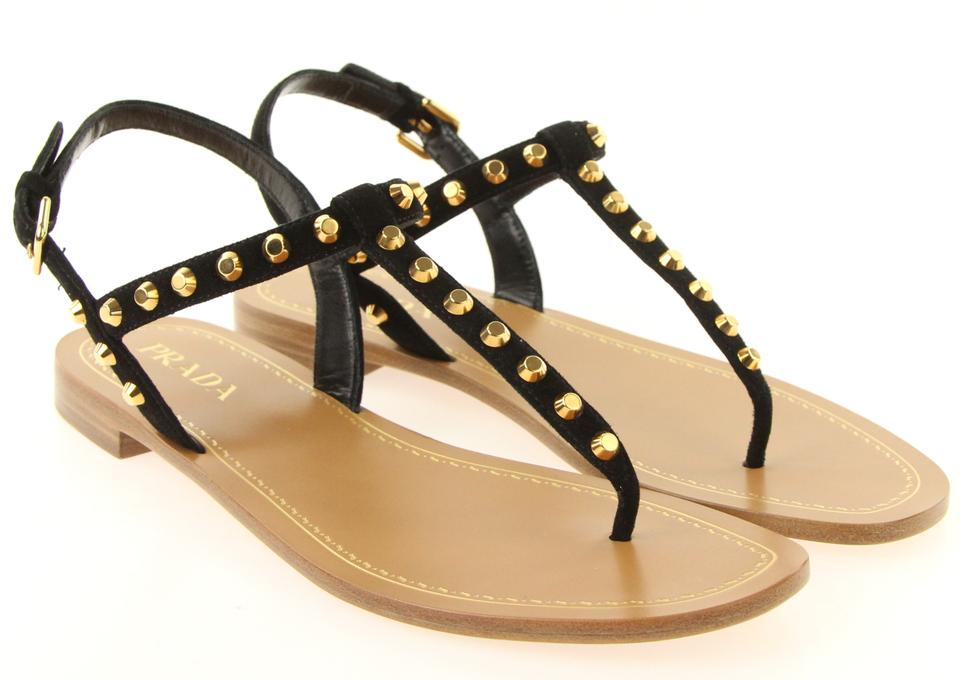 16ee0b40b2c Prada Black Suede T Strap Gold Studded Thong Flats Buckle Italy Sandals