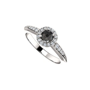 DesignByVeronica Mysterious Deep Black Onyx and CZ Halo Ring in Silver