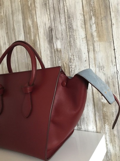 Céline Leather Tote in Burgundy
