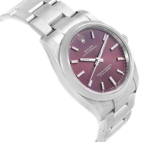 Rolex Rolex Oyster Perpetual 34 Red Grape Dial Steel Unisex Watch 114200