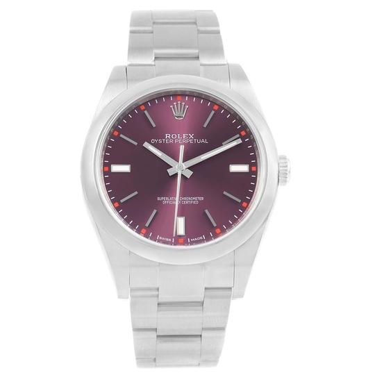 Rolex Rolex Oyster Perpetual 39 Red Grape Dial Steel Mens Watch 114300 Box
