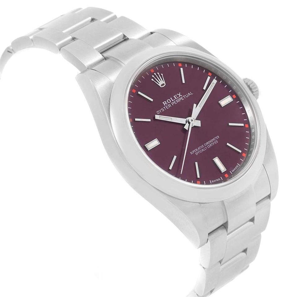 67092800362ee Rolex Rolex Oyster Perpetual 39 Red Grape Dial Steel Mens Watch 114300 Box  Image 11. 123456789101112