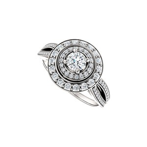 DesignByVeronica Cubic Zirconia Curved Split Shank Double Halo Ring