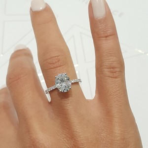 "White Gold 2.5 Carat ""Hidden Halo"" Oval Moissanite Set In 14k Engagement Ring"