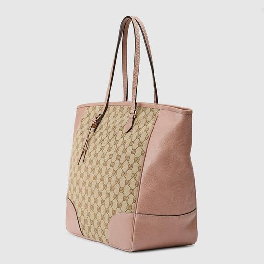 Gucci Leather/Canvas Tote in Pink/Beige