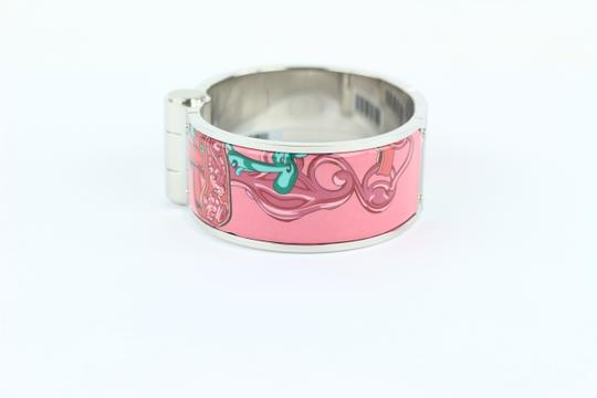 Hermès Wide Silver and Pink Charniere Hinged Cuff Bracelet 39hz1009