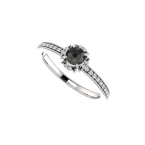 DesignByVeronica Black Onyx and CZ Unique Style Halo Ring in 925 Silver