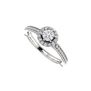 DesignByVeronica Elegant and Simple Cubic Zirconia Halo Ring in Silver