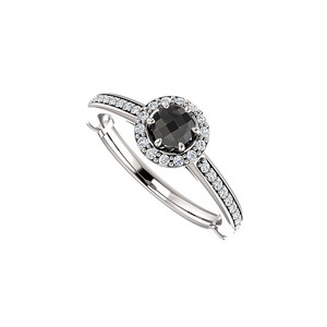 DesignByVeronica Sweet and Simple Black Onyx and CZ Halo Ring Silver