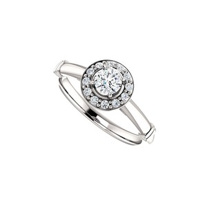 DesignByVeronica Cubic Zirconia Halo Style Ring in 925 Sterling Silver