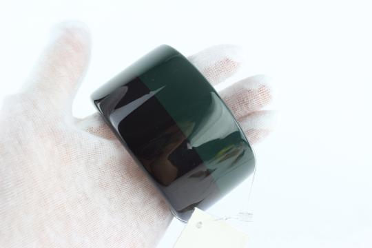 Hermès Green and Black Multicolor Colombo 3 Extra Wide Enamel Bangle 51hz1009