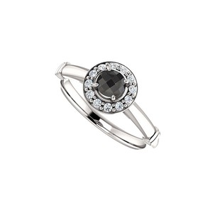 DesignByVeronica Black Onyx and CZ Halo Style Ring 925 Sterling Silver
