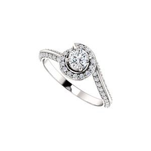 DesignByVeronica One Carat CZ Swirl Halo Engagement Ring 925 Silver