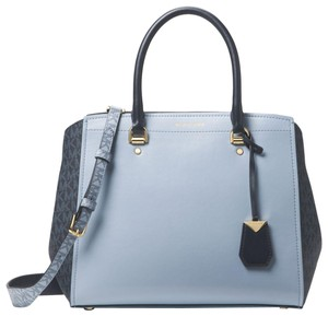 Michael Kors Leather 30t8gn4s3v Blue/Admiral Satchel in Pale Blue/Admiral