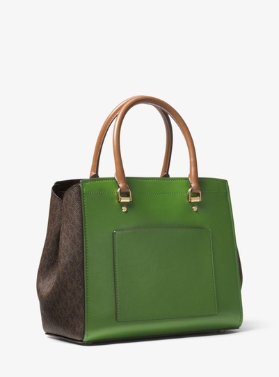Michael Kors Leather 30t8gn4s3v Green/Brown Satchel in True Green/Brown