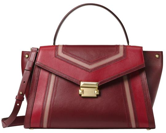 Preload https://img-static.tradesy.com/item/24156246/michael-kors-whitney-large-tri-color-30f8gwhs3y-oxblood-leather-satchel-0-1-540-540.jpg