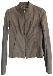 Rick Owens Distressed Gray Leather Jacket