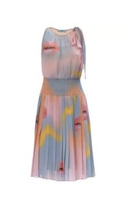 Multi Color Maxi Dress by Prada Collared Pleated Silk