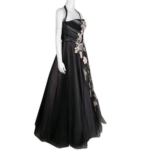 Oscar de la Renta Black Floral Embroidered and Appliqued Tulle Halter Gown M Casual Wedding Dress Size 4 (S)