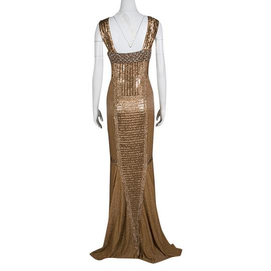 Gianfranco Ferre Gold Dull Embellished Sleeveless Evening Gown M Casual Wedding Dress Size 8 (M)