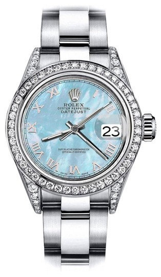 Preload https://img-static.tradesy.com/item/24156388/rolex-stainless-steel-baby-blue-pearl-roman-31mm-datejust-pave-diamonds-on-shoulders-watch-0-1-540-540.jpg