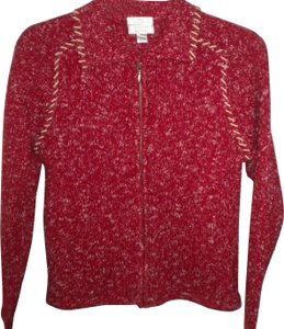 Christopher & Banks Red/White Full Ziip Wool Blend Sweater