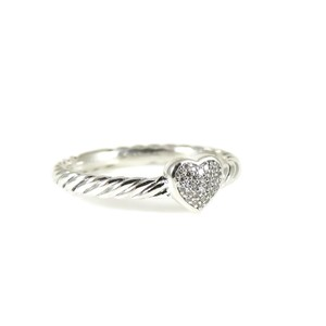 David Yurman David Yurman Sterling Silver .06tcw Petite Pave Diamond Heart Ring