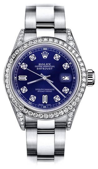 Preload https://img-static.tradesy.com/item/24156501/rolex-stainless-steel-blue-82-31mm-datejust-diamond-bezel-and-lugs-oyster-band-watch-0-1-540-540.jpg