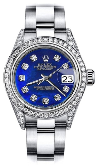 Preload https://img-static.tradesy.com/item/24156529/rolex-stainless-steel-blue-treated-31mm-datejust-pave-diamonds-on-shoulders-and-bezel-watch-0-1-540-540.jpg