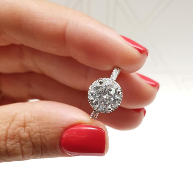 Item - White Gold 14k Halo - 1.25 Carat Forever One Round Engagement Ring